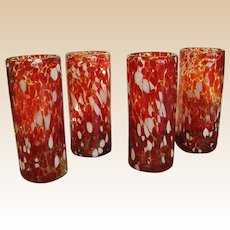 Handblown Crackle Texture Glass Tumblers – Set of Four