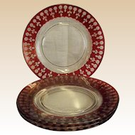 "Set of Four Cut Crystal Flash Cranberry 7 ¾"" Plates"