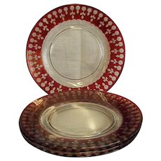 """Set of Four Cut Crystal Flash Cranberry 7 ¾"""" Plates - Red Tag Sale Item"""