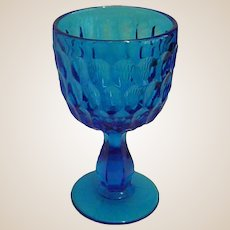 Beautiful Fenton Colonial Blue Thumbprint Water Goblet