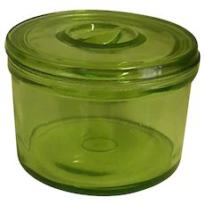 Green Depression Glass Multi-Purpose Lidded Jar