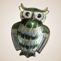 Sterling David-Andersen Enameled Owl Pin