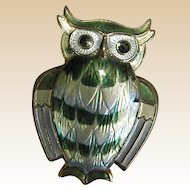Sterling David-Andersen Enameled Owl Pin