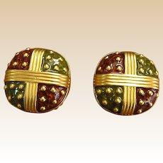 Vintage Doncaster Enamel Gold Tone Clip Earrings
