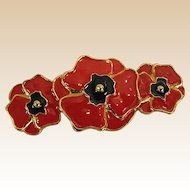 Classic Escada Red Poppy Pin/Brooch