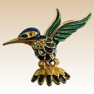 Enamel Goldtone Hummingbird Brooch Pin
