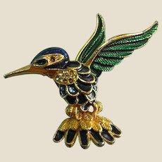 Enamel Goldtone Hummingbird Brooch Pin