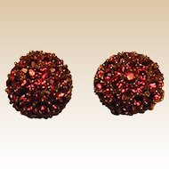 Lovely Vintage Jomaz Red Rhinestone Clip-on Earrings