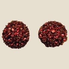 Lovely Vintage Jomaz Red Rhinestone Clip-on Earrings