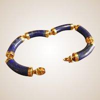 14k Gold and Lapis Barrel Link Bracelet