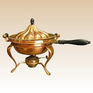 Gorgeous Antique Sternau & Co. Copper Chafing Dish with Brass Accents