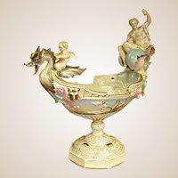 Sitzendorf Voight Bros. Porcelain Footed Console Bowl or Compote
