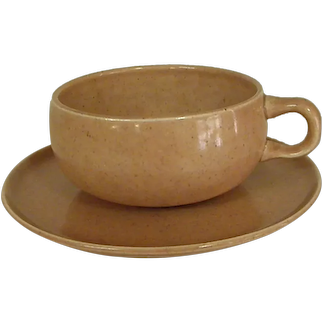 Russel Wright Coral Color American Modern Cup and Saucer by Steubenville Pottery