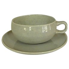 Russel Wright Granite Gray American Modern Cup and Saucer by Steubenville Pottery