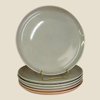 Russel Wright Granite Gray American Modern Dinner Plates by Steubenville Pottery