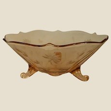 Lovely Etched Footed Pink Depression Bowl