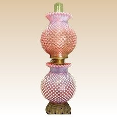 Vintage Customized Cranberry Hobnail GWTW Lamp