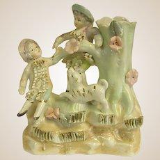 Sweet Old Porcelain Spill Vase Boys with Dog
