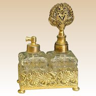 Wonderful Goldtone Double Perfume Bottle Set