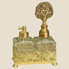 Wonderful Goldtone Double Perfume Bottle Set