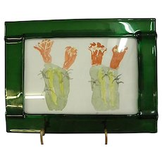 Signed Cactus Watercolor in Unusual Green Glass Frame