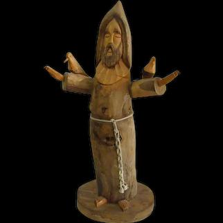Large Carved Wood Ben Ortega St. Francis