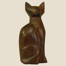 Sassy Carved Ironwood Cat