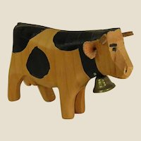 Cute Little Hand Carved Wooden Cow