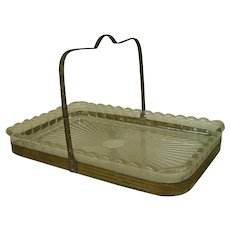 Sweet Old Pressed Glass Tidbit Tray in Brass Caddy