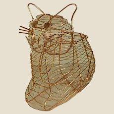 Adorable Copper Color Wire Cat Basket
