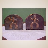 Vintage Pressed Copper on Wood Bookends