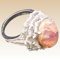 Vintage 14K White Gold Mexican Opal Ring