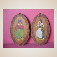 Antique Pyrographic Wooden Wall Hangings