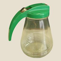 Vintage Green Lid Syrup Pitcher