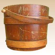 Charming Vintage Wooden Bucket, Firkin