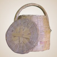 Charming Old Basket with Lid and Fixed Handle