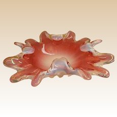 Stunning Cranberry Freeform Opalescent Studio Art Bowl