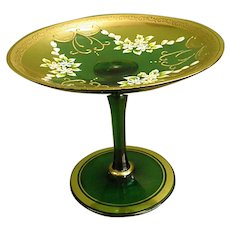 Beautifully Decorated Green Glass Lenwile Ardalt Shallow Compote