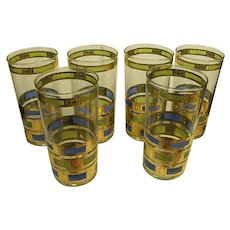 "Set of Six Culver Mid-Century ""Empress"" Tumblers"