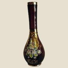 Enameled Amethyst Vase with Gold Trim