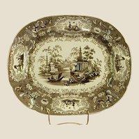 19th Century Brown English Transferware Platter