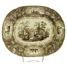 19th Century Brown English Transferware Platter