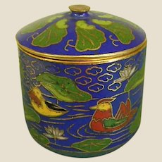 Lovely Cloisonné Snuff Box with Ducks and Lily Pads