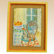 Charming Enamel on Metal Still Life of Cat at the Kitchen Table