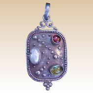 Modernist Sterling Pendant with Colored Stones
