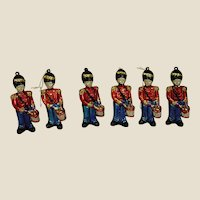Set of Six Red and Blue Soldier Holiday Ornaments/Decorations