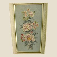 Framed Floral Needlepoint