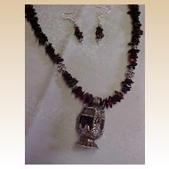 Hand Strung Amber Necklace with Vintage Tibetan Pendant