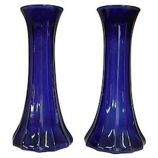 Pair of Beautiful Cobalt Blue Depression Glass Vases