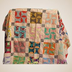 Hand Sewn Colorful Patchwork Quilt Top